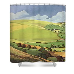 Small Green Valley Shower Curtain by Anna Teasdale