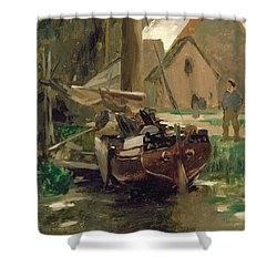 Small Harbor With A Boat  Shower Curtain by Thomas Ludwig Herbst