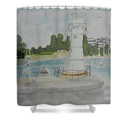 Small Lighthouse One Belmore Basin Shower Curtain
