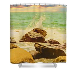 Small Ocean Waves,large Rocks. Shower Curtain