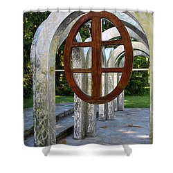 Shower Curtain featuring the photograph Small Park With Arches by Michiale Schneider