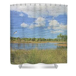 Small Pond With Weathered Wood Shower Curtain by Rosalie Scanlon