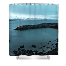 Shower Curtain featuring the photograph Small Port Near Snaefellsjokull Mountain, Iceland by Dubi Roman