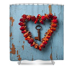 Small Rose Heart Wreath With Key Shower Curtain by Garry Gay