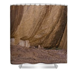 Small Ruin Amid Steep Canyon Walls Shower Curtain by Anne Rodkin