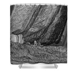 Small Ruin Amid Steep Canyon Walls In Black And White Shower Curtain by Anne Rodkin