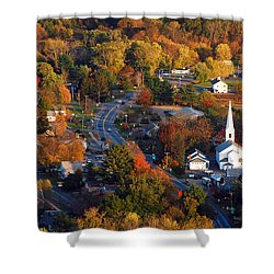 Small Town Aerial Shower Curtain by James Kirkikis