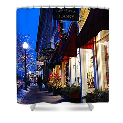 Small Town Christmas Shower Curtain by James Kirkikis