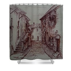 Small Town Drawing Shower Curtain