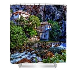 Small Village Blagaj On Buna Waterfall, Bosnia And Herzegovina Shower Curtain by Elenarts - Elena Duvernay photo