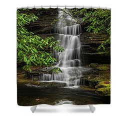 Small Waterfalls In The Forest. Shower Curtain