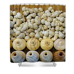 Small Wooden Flasks Shower Curtain by Yali Shi