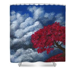 Shower Curtain featuring the painting Small World by Anastasiya Malakhova