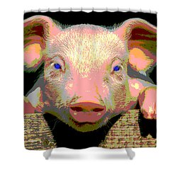 Shower Curtain featuring the mixed media Smart Pig by Charles Shoup