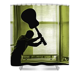 Shower Curtain featuring the photograph Smashing Up A Guitar by Craig B