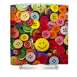 Smiley Face Button Shower Curtain by Garry Gay