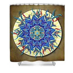 Smiling Blue Moon Mandala Shower Curtain by Deborah Smith