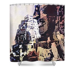 Shower Curtain featuring the painting Smiling Faces- Bayon Temple, Cambodia by Ryan Fox