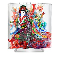 Smiling Geisha Shower Curtain