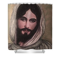 Smiling Jesus Shower Curtain by Cena Caterine