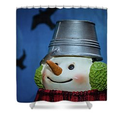 Smiling Snowman Shower Curtain