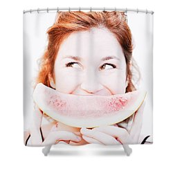 Smiling Summer Snack Shower Curtain by Jorgo Photography - Wall Art Gallery