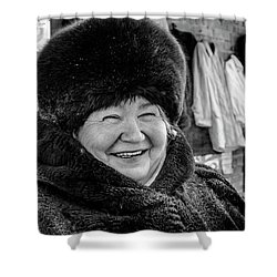 Shower Curtain featuring the photograph Smiling Woman With Squinting Eyes by John Williams