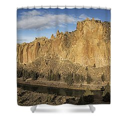 Shower Curtain featuring the photograph Smith Rock And Crooked River Panorama by Belinda Greb