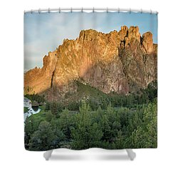 Smith Rock First Light Shower Curtain by Greg Nyquist