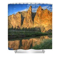 Smith Rock Reflection Shower Curtain