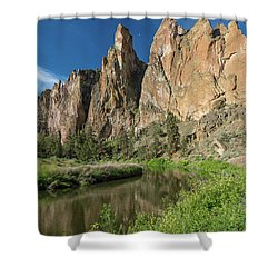 Shower Curtain featuring the photograph Smith Rock Spires by Greg Nyquist