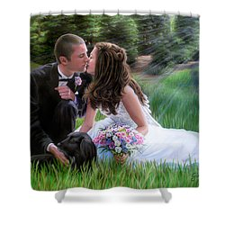 Shower Curtain featuring the painting Smith Wedding Portrait by Jane Girardot
