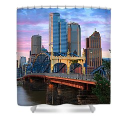 Shower Curtain featuring the photograph Smithfield Street Bridge by Emmanuel Panagiotakis
