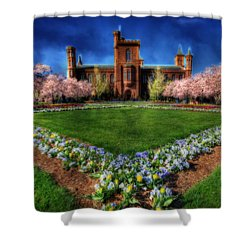 Spring Blooms In The Smithsonian Castle Garden Shower Curtain by Shelley Neff