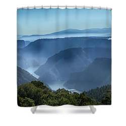 Shower Curtain featuring the photograph Smoke Over Flaming Gorge by Marie Leslie