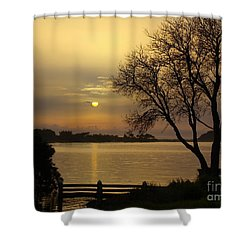 Smoke Sunrise Shower Curtain by Trena Mara