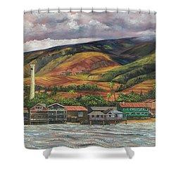 Shower Curtain featuring the painting Smokestack Lahaina Maui by Darice Machel McGuire