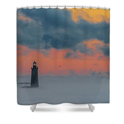 Smokey Sunrise At Ram Island Ledge Light Shower Curtain