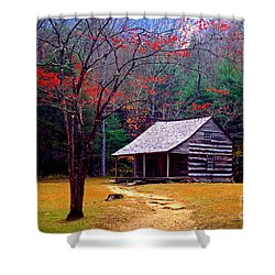 Smoky Mtn. Cabin Shower Curtain