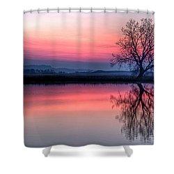 Smoky Sunrise Shower Curtain by Fiskr Larsen