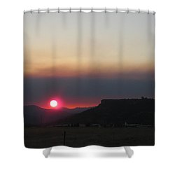 Shower Curtain featuring the photograph Smoky Sunset Near Table Rock by Marie Neder