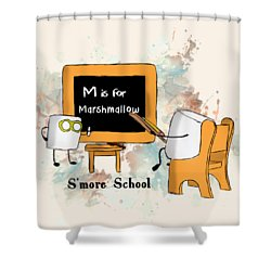 Shower Curtain featuring the digital art Smore School Illustrated by Heather Applegate