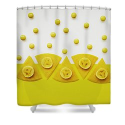 Yellow Snack Shower Curtain by Ann Foo