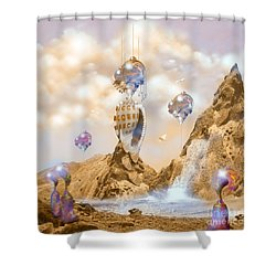 Shower Curtain featuring the digital art Snail Shell City by Alexa Szlavics