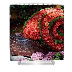 Snail With Flowers Shower Curtain
