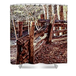 Snake Fence Shower Curtain by B Wayne Mullins