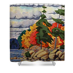 Snake Island In Fall-close Shower Curtain by David Gilmore
