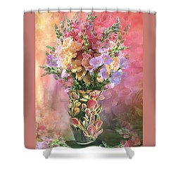 Shower Curtain featuring the mixed media Snapdragons In Snapdragon Vase by Carol Cavalaris