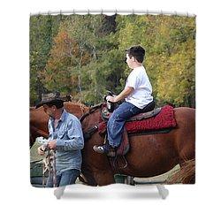 Sneaker Wearing Cowboy Shower Curtain by Kim Henderson