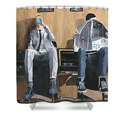 Shower Curtain featuring the painting Sneakers Need Polishing Too by Stuart B Yaeger